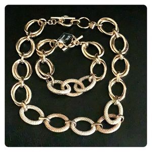 Pave necklace and bracelet set
